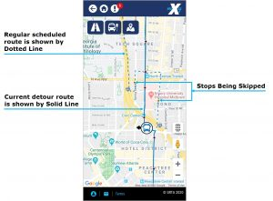 Detour Bulletin image. Regular schedule route is shown by dotted line that shows stops being skipped. Current detour route is shown by a solid line.