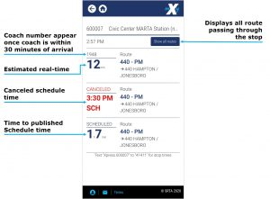 View Schedule, Estimated and Canceled Times image. Selecting the view all routes button in top right displays all routes passing through the stop. The Coach Number appears once Coach is within 30 minutes of arrival. Estimated real-time, is shown. Canceled Schedule time is shown if applicable. Time to published schedule time is shown.