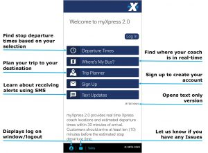 Select the Departure Time button to find your stop departure times based on your selection. Select the Where is my bus? to find your bus location in real time. Select the Trip Planner button to plan your trip to your destination. Select the Text Updates button to learn about receiving text alerts. Select the Signup to create your account. Select the text only button to use the text version of the app. Select the user profile button to display the log on, log off screen. Select the email button to let us know if you have any issues with the app.