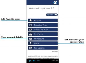 Account logged in home page image. Select Favorites button to add favorite stops. Select My Account Button to view your account details. Select Alerts Button to set alerts for your route or stop.