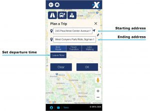 Trip Planner image. Enter addresses for the start and end of a trip, then select leave now button to enter your desired departure time.