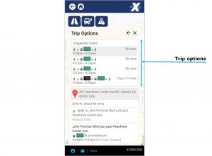 Plan trip option image. shows all trip options that includes a map with the selected route, streets taken, transit routes to use with your departure times and transfer points, if any.