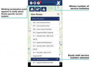 Route and stop service bulletin image. Blinking exclaimation point appears to notify about route specific service bulletins. The number next to the blinking exclaimation point show the number of bulletins. Routes with service bullitins are highlighted.