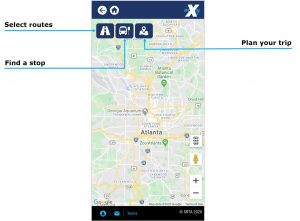 Where's My Bus? navigational functions. Select Routes trip icon to display specific routes. Select Plan your icon to plan your trip. Select Find a stop icon to locate a specific stop.